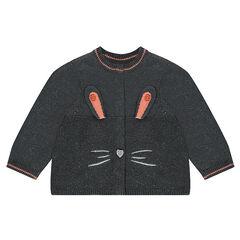 Gilet en tricot mélangé de fil argenté avec détails lapin brodés