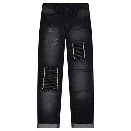 Junior - Jeans effet used avec patchs et déchirures