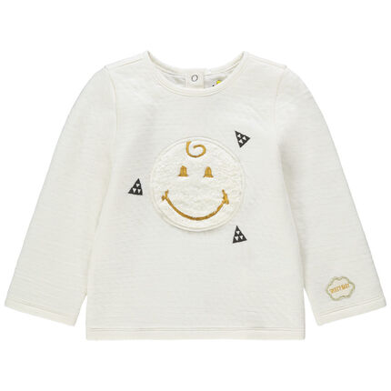 T-shirt manches longues en double jersey avec Smiley en sherpa et détails brodés
