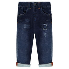 Jeans effet used avec poches et surpiqûres contrastées