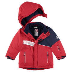 Blouson de ski bicolore doublé polaire avec poches zippées