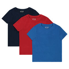Junior - Lot de 3 tee-shirts manches courtes unis en jersey