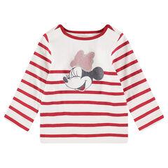 Marinière en jersey avec print Minnie à paillettes ©Disney et col pressionné
