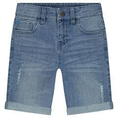 Bermuda en jeans effet used