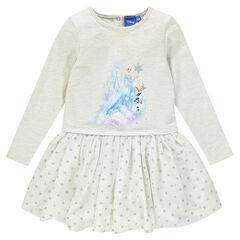 Robe manches longues bi-matière print Disney la Reine des Neiges