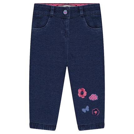 Pantalon en molleton effet jeans avec broderies contrastées