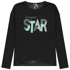Junior - T-shirt manches longues en jersey avec inscription en sequins