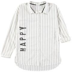 Junior - Chemise manches longues à rayures verticales et inscription printée