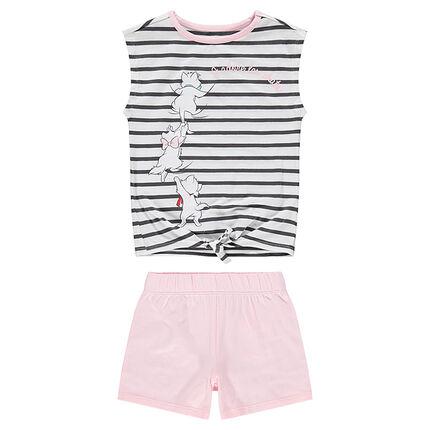 Pyjama en jersey avec haut rayé et Aristochats Disney printés