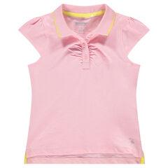 Polo manches courtes rose avec logo printé