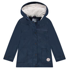Junior - Parka en gomme à capuche doublée sherpa