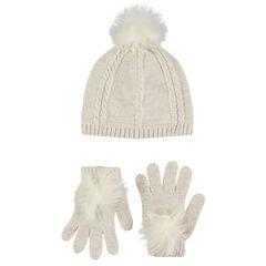 Ensemble bonnet et gants en tricot pailleté avec pompons