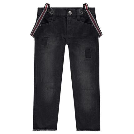 Jeans effet used avec bretelles rayées amovibles
