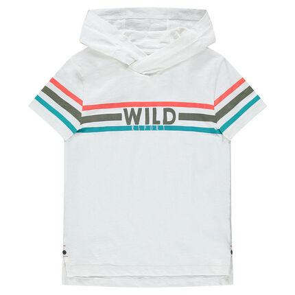 Junior - Tee-shirt à capuche manches courtes avec bandes contrastées
