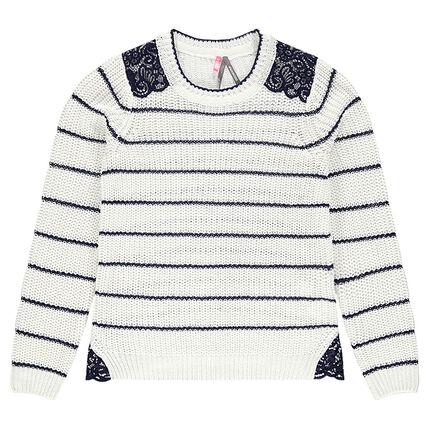 Junior - Pull en tricot rayé avec empiècements dentelle