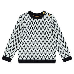 Pull en tricot avec motif jacquard all-over