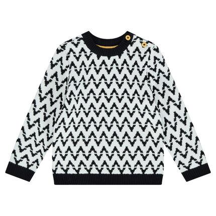 Pull en tricot avec motif jacquard all-over