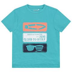 T-shirt manches courtes uni avec imprimé fantaisie