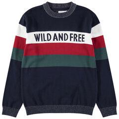 Junior - Pull en tricot avec bandes et message en jacquard