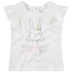 T-shirt manches courtes volantées print lapine