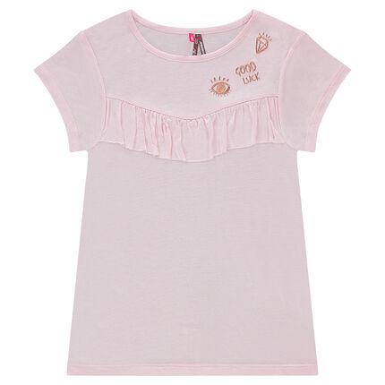 Junior - Tee-shirt manches courtes avec volant et broderies