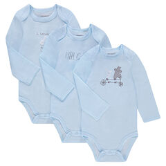 Lot de 3 bodies manches longues en jersey avec prints fantaisie