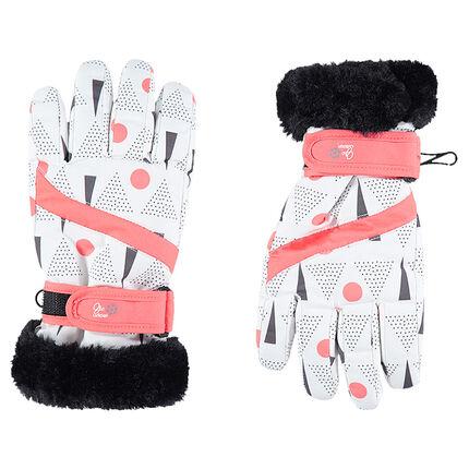 Gants de ski imprimés all-over avec fausse fourrure