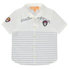 Chemise manches courtes à rayures avec badges Pat' Patrouille