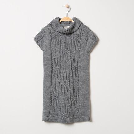 Robe sans manches en tricot à jeux de mailles