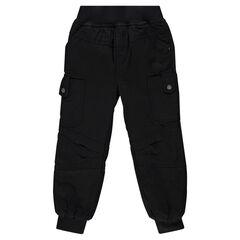 Pantalon en piqué de coton à poches et taille élastiquée