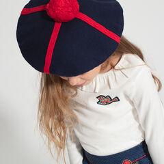 Béret en tricot avec motifs jacquard et pompon