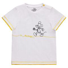 Tee-shirt manches courtes en piqué de coton avec print Mickey