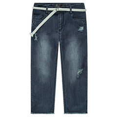 Junior - Jeans mi-mollet effet used avec ceinture amovible