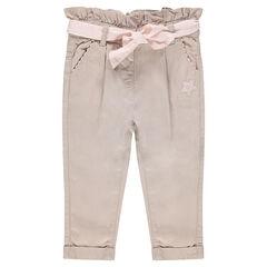 Pantalon en lyocel à taille froncée et ceinture à nouer