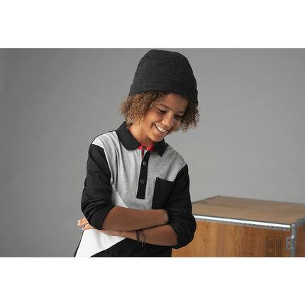 Junior - Polo manches longues effet 2 en 1 tricolore avec poche