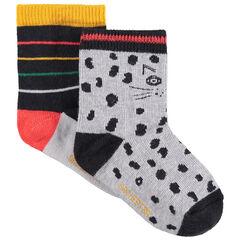 Lot de 2 paires de chaussettes à rayures et motif léopard all-over