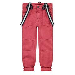 Pantalon en toile rouge effet used avec bretelles amovibles élastiquées