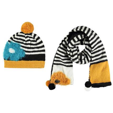 Ensemble bonnet et écharpe à rayures avec petits pompons