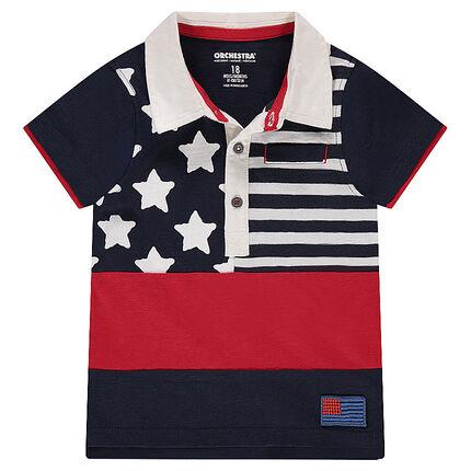 Polo manches courtes en jersey slub avec print style drapeau