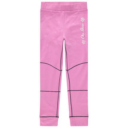 Legging de ski rose à surpiqûres contrastées