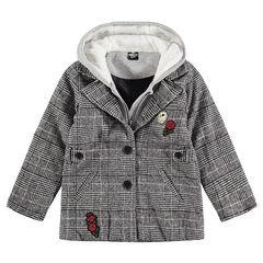 Junior - Manteau en drap de laine Pince de Galles avec textes printés et badges Smiley