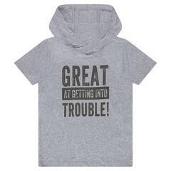 Junior - Tee-shirt manches courtes à capuche avec inscription printée