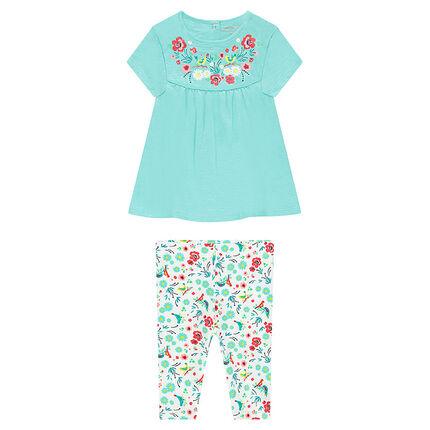 Ensemble avec tunique à fleurs printées et legging court imprimé all-over
