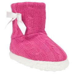 Chaussons forme bottines en tricot avec noeud satin