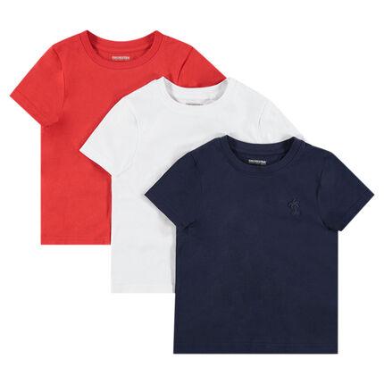 Junior - Lot de 3 tee-shirts manches courtes en jersey avec logo printé