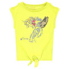 Junior - Tee-shirt manches courtes à épaules ajourées et tigre printé