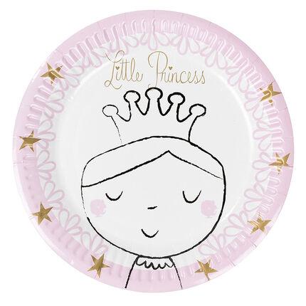 Lot de 10 assiettes anniversaire en carton motif princesse