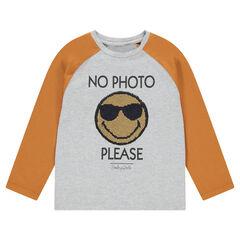 Tee-shirt manches longues en jersey bicolore avec ©Smiley en sequins magiques