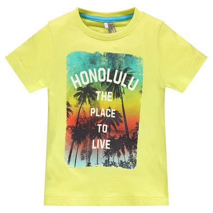 Tee-shirt manches courtes unis avec print fantaisie