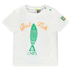 Tee-shirt manches courtes avec print poisson effet used